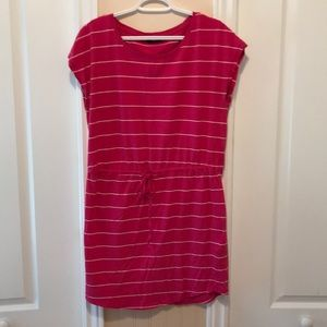 Pink and white striped t shirt dress